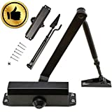 Fitvc Auto Grade Adjustable Closers with Hydraulic Hinge-Great Heavy Duty Aluminum Self Closing Door for Residential/Commercial Use, Black