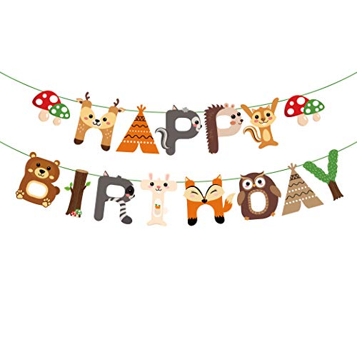 CC HOME Woodland Creature Birthday Party Supplies,Woodland Happy Birthday Banner,Forest Friend Animal Party Supplies,Woodland Animal Garland Bunting Banner for Boys ,Girls ,Camping ,Woodland Theme Baby Shower ,Forest Friend Animal Birthday Party Supplies Favor]()