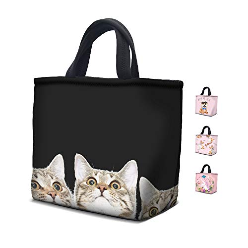 School supplies Back to school Lunch Bag Anyshock Neoprene Lunch Bag,Insulated Freezable Cute Lunch Large Tote Bag with Zipper for Kids Children School Picnic Outdoor (Cat) (Cat Lunch Bag)