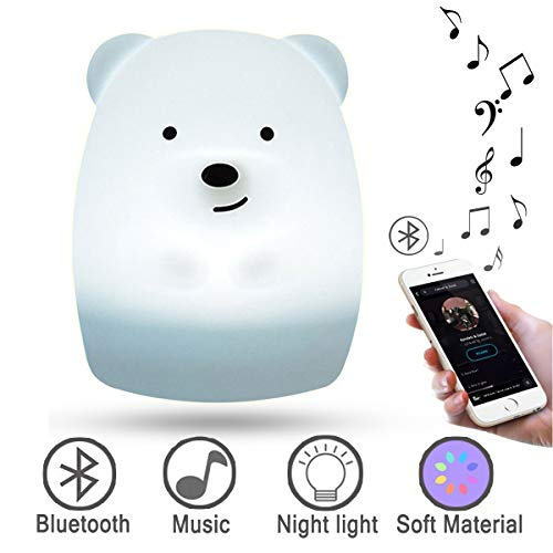 Portable Bluetooth Speakers Night Lights for Kids,LED Baby Bedside Lamp -Rechargeable Infant or Toddler Color Changing Bright Nightlight