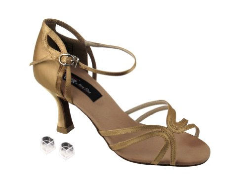 Zeer Fijne Dames Vrouwen Ballroom Dansschoenen Ekcd2177 Met 2,5 Hiel Tan Satin