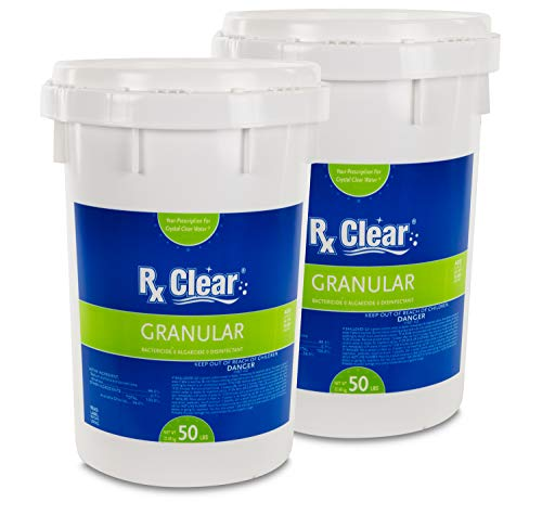 Rx Clear Stabilized Granular Chlorine | Two 50-Pound Buckets | Use As Bactericide, Algaecide, and Disinfectant in Swimming Pools and Spas | Slow Dissolving and UV Protected