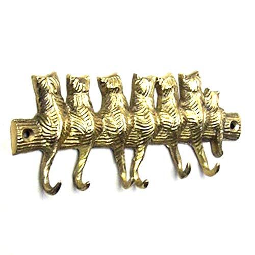 Brass Cat - Solid Brass Cat Key Holder Keys Hook Hanger Small Size 6.5