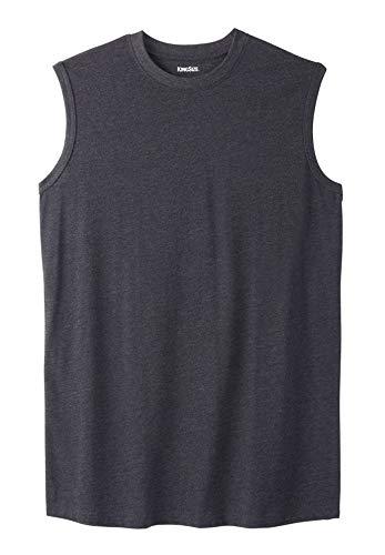 KingSize Men's Big & Tall Lightweight Cotton Muscle Shirt, Heather Charcoal - Shirts Tee Cut