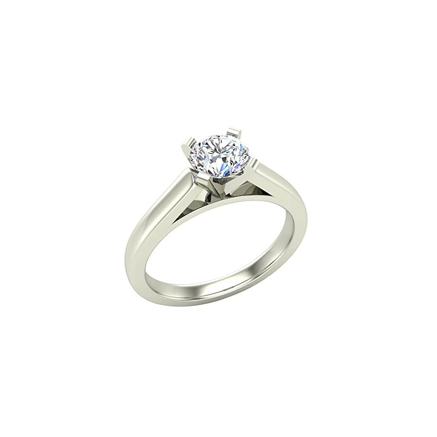 Solitaire Diamond Engagement Ring Round Brilliant Cut 14K Gold 2/3 ctw (G,VS2) Signature Rare Quality
