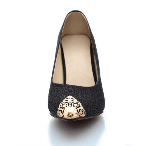 Charm Foot Fashion Sequins Womens Mary Jane High Heel Pumps Dress Shoes Black 7WQHfV