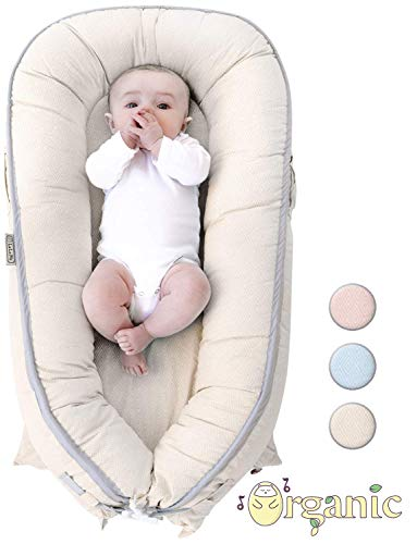 (Organic Newborn Lounger | Baby Nest | Portable Snuggle Bed for Infants & Toddlers 0-12 Month | Blue, Pink, Beige Colors for Girls and Boys | Use as Bassinet, Play Pillow, Mobile Crib (BEIGE))