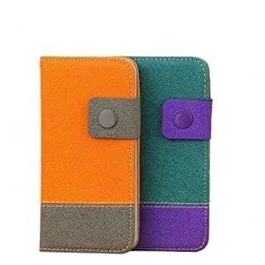 Snow Patterns Leather Case Stand Credit Wallet For iPhone5 --- Color:Dark Brown+Light Brown