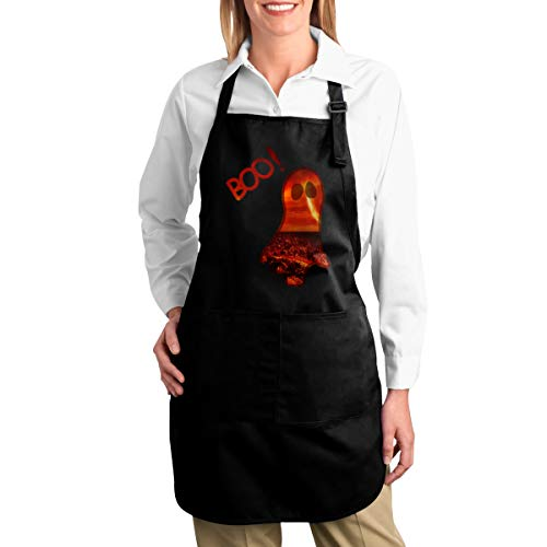 OURFASHION Apron Halloween Scary Boo Clipart Adjustable Bib Apron with Pockets for Women and Men Home Kitchen Garden Restaurant Cafe Bar Pub -