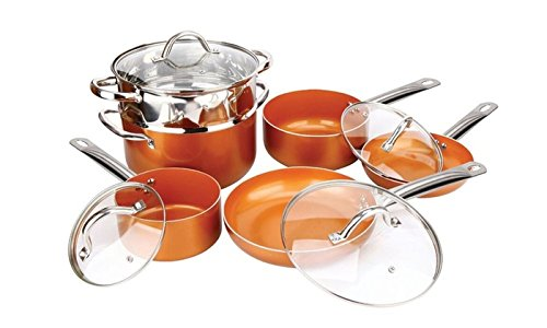 Copper H-02628 Pan 10-Piece Luxury Induction Cookware Set Non-Stick, 21.5 x 11.5 x 11 inches by Copper (Image #6)