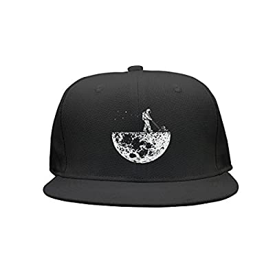 Kijhsaa Funny Spaceman Weed On The Moon Unisex Classic Mesh Back Plain Caps Trucker Hats