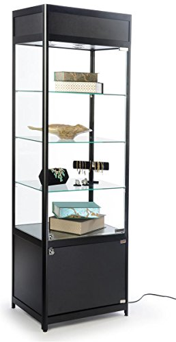 Displays2go Glass Display Case, Adjustable Shelves, Locking Door, Cabinet Base, Black (SCTWR2418BK) by Displays2go