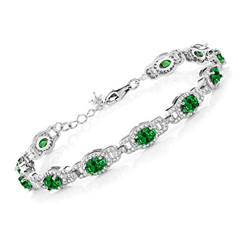 Gem Stone King 925 Sterling Silver Oval Green Simulated Emerald Women's 7 Inch Bracelet With 1 Inch Extender, 11.08 Ctw (Trifari Emerald Bracelet)