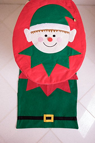 Elf Christmas Themed Toilet Seat Lid Tank Cover With Floor Mat Tissue Box