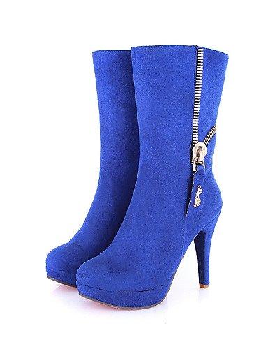 negro Mujer Sintético Tacón De Uk5 Y 5 Cn38 us7 Eu38 Botas Punta Blue Casual Cerrada 5 Oficina Stiletto Redonda Xzz Ante Trabajo Vestido Zapatos aqZwtE
