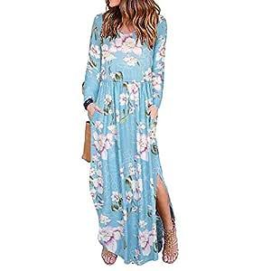 YOKST Women's Printing Casual Sleeveless Dress Long Sleeve Large Size Waist Dress Maxi Dress Loose Long Leisure Split Long Skirt With Pockets for Tourism Leisure Shopping