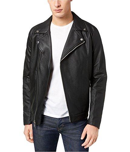 Calvin Klein Men's Faux Leather Asymmetrical Full-Zip Moto Jacket, Black, Medium