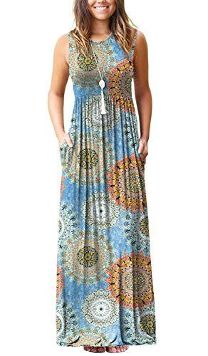 (Boho Summer Maxi Dress Women Tank Top Dress Floral Print Casual Beach Dress with Pockets Blend Blue L)