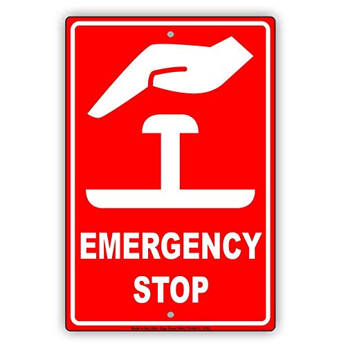 Eeypy Emergency Stop with Graphic Safety Alert Caution Warning Notice Aluminum Metal Tin 12x16 Sign Plate from Eeypy