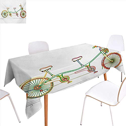 familytaste Bicycle Dinner Picnic Table ClothColorful Tandem Bicycle Design on White Background Pattern Clipart Style Print Waterproof Table Cover for Kitchen 50