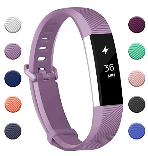 Fundro Compatible for Fitbit Alta Bands, Soft Silicone Replacement Classic Bands Available in Varied Colors with Secure Buckle for Fitbit Alta HR (C# 1-Pack Lavender, Small)