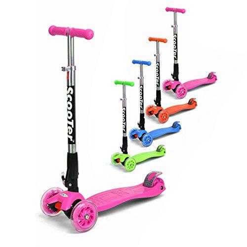 Fascol® Klappbar Kinderroller Scooter mit Kniepolster PVS Rollen mit ABEC-5 Kugellagern für Kinder 3-15 Jahre alt Belastbar bis 70kg Rosa