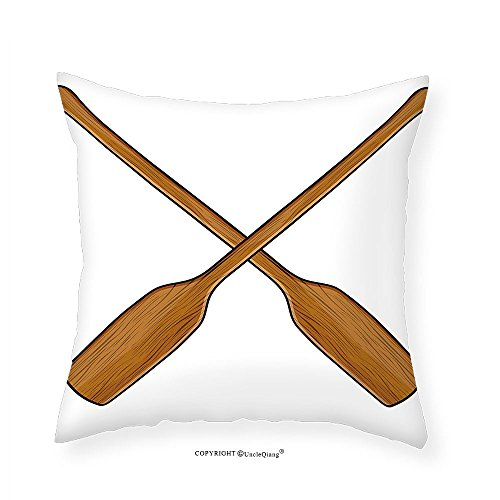VROSELV Custom Cotton Linen Pillowcase Oar Wooden Canoe Paddles Nautical Timber Ocean Sports Competition Race Hobby Theme for Bedroom Living Room Dorm Light Caramel 16