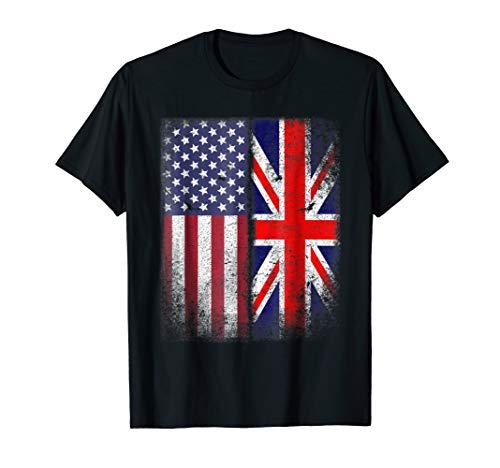 British American Flag T-shirt Great Britain Union Jack -