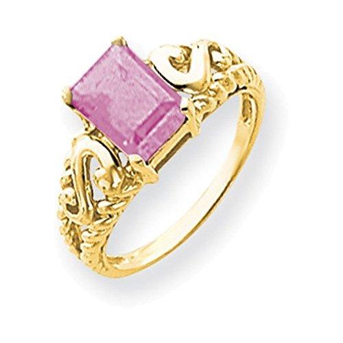 Jewelry Adviser Rings 14k 8x6mm Emerald Cut Pink Tourmaline ring - Emerald Cut Pink Tourmaline Ring