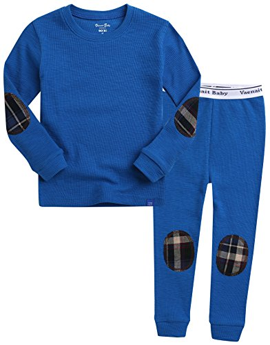Vaenait baby Kids Boys 100% Cotton Sleepwear Pajamas 2pcs Set Maple Patch Blue - Cotton Coccoli