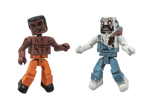 DIAMOND SELECT TOYS Walking Dead Minimates Series 3 Tyreese and Farmer Zombie Action Figure -