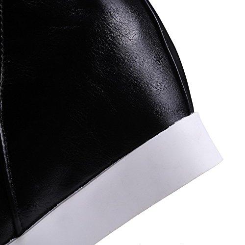 AllhqFashion Mujeres Tacón Alto Material Suave Caña Baja Sólido Sin cordones Botas Negro