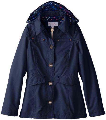 Jessica Simpson Big Girls'  Trench Rain Coat, Navy, 10/12