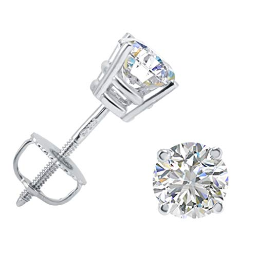 (AGS Certified 1ct TW (E-F Color) Round Diamond Stud Earrings in 14K White Gold)