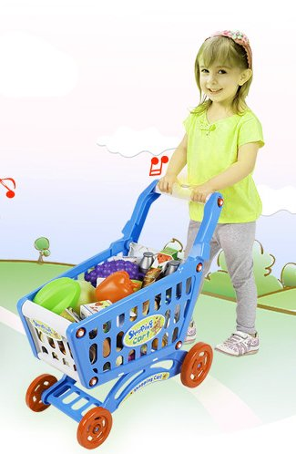 19'' Mini Shopping Cart with Full Grocery Food Toy Playset for Kids by Liberty Imports (Image #5)