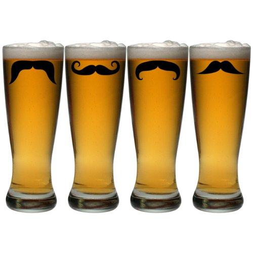 (Susquehanna Glass Moustache Grand Pilsner Glasses, Set of 4, 20 ounces)