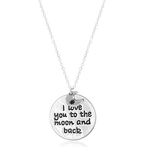 me & you Crescent & I Love You to The Moon and Back Disc Necklace for Women