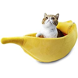 Pet Grow Cute Banana Cat Bed House Large Size, Pet Bed Cave Soft Cat Cuddle Bed, Lovely Pet Supplies for Cats Kittens Bed, Yellow