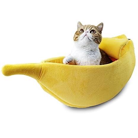 SODIAL Cama de gato perro mascota lindo Forma de platano Cama de casa de felpa suave