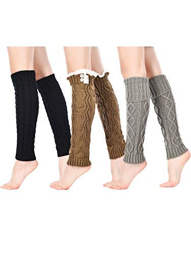 3 Pairs Women Knit Leg Warmers Cable Knit Long Socks Lace Trim Boot Cuffs, 3 Styles (Black, Grey, Khaki)