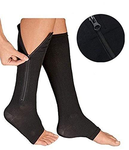Mxinran Zip Sox Socks,NEW Open Toe Knee Length Zipper Up Compression Hosiery Calf Leg Support Stocking for Varicose Veins, Edema, Swollen or Sore Legs,1Pack (L/XL, Black)
