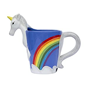Ceramic Unicorn Coffee Mug w/Rainbow by Comfify – Sweet & Fantastical 3D Unicorn Design w/Magical Rainbow – Unique & Creative Mug – 16 oz.