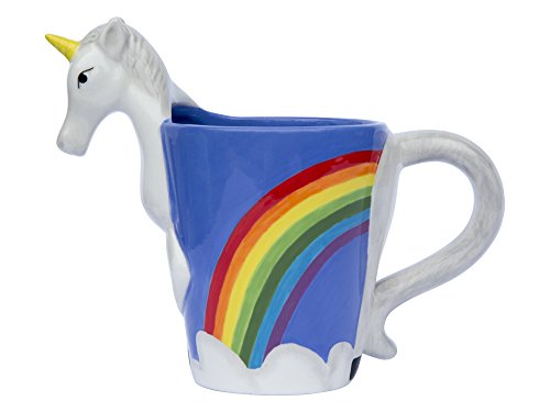 Ceramic Unicorn Coffee Mug w/ Rainbow by Comfify - Sweet & Fantastical 3D Unicorn Design w/ Magical Rainbow - Unique & Creative Mug - 16 oz.