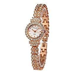 Royal Rose Gold Bracelet With Crystal Diamond Watch