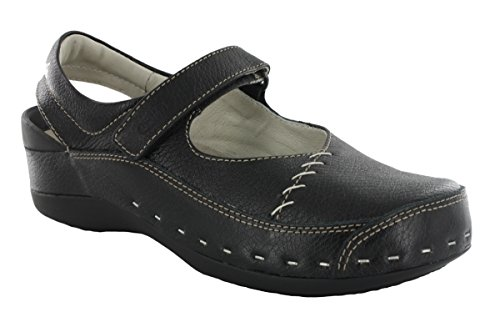 Wolky Comfort Clogs 06015 Strap cloggy - 30000 black leather - 37 by Wolky