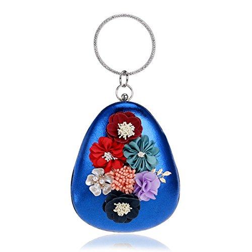 Flada mujer y niña de cuentas de flores de la noche bolsa de embrague de poliéster pulsera bolso monedero azul Azul