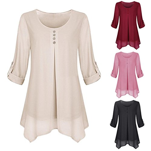 Women Roll-up Long Sleeve Shirt O-Neck Solid Flowy Chiffon Top Casual Pullover