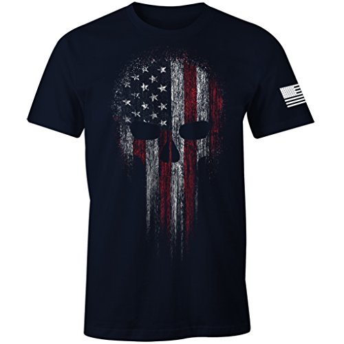 USA Military American Skull Flag Patriotic Men's T Shirt (Navy, ()