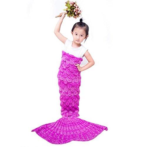 ILSELL Handcrafted Crochet Knitting Mermaid Tail Blanket,Little Sofa Blanket Kids Soft Rug Sleeping Bag (Kids, Pink 1)