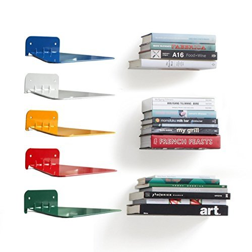 Metal invisible concealed bookshelf Set of 2 (white) ()